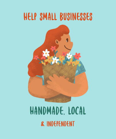 Illustrated T-Shirt Design Maker for a Handmade Store Support 3695e