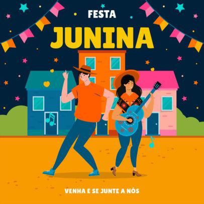 Instagram Post Template Featuring Festa Junina Illustrations 3713