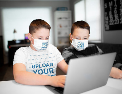 T-Shirt Mockup Featuring Two Kids Wearing Face Masks m4557-r-el2