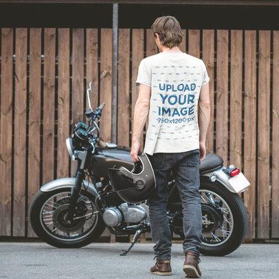 T-Shirt Mockup of a Biker Walking Towards His Motorcycle m4753-r-el2