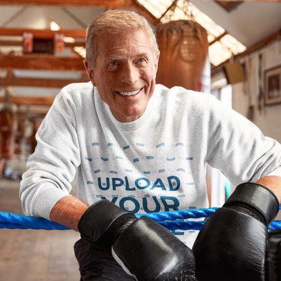 Heather Sweatshirt Mockup of a Happy Senior Man at a Boxing Ring 41835-r-el2