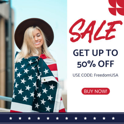 Instagram Post Design Template for a 4th of July Special Sale 3998-el1