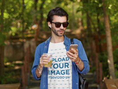 T-Shirt Mockup of a Man Having a Long Island Tea m8258-r-el2