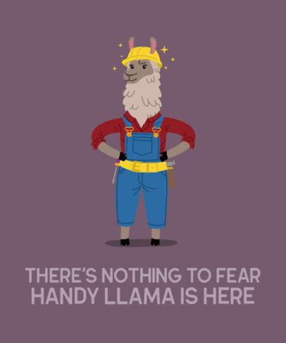 Fun T-Shirt Design Creator Featuring a Llama Dressed as a Contractor 3720f