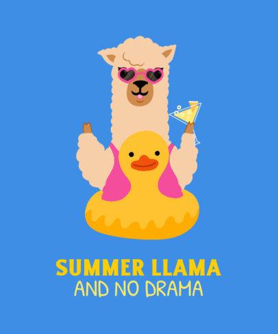Fun T-Shirt Design Generator Featuring a Llama Enjoying Summer 3720c