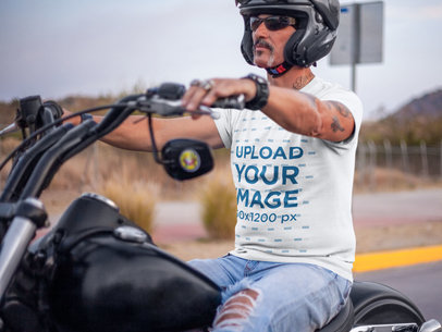T-Shirt Mockup Featuring a Biker Riding a Motorcycle 20215a