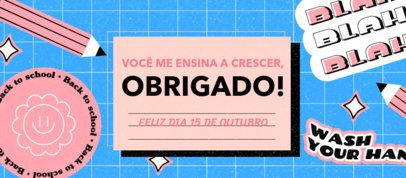 Facebook Cover Design Template to Commemorate Teachers' Day in Brazil 3729a