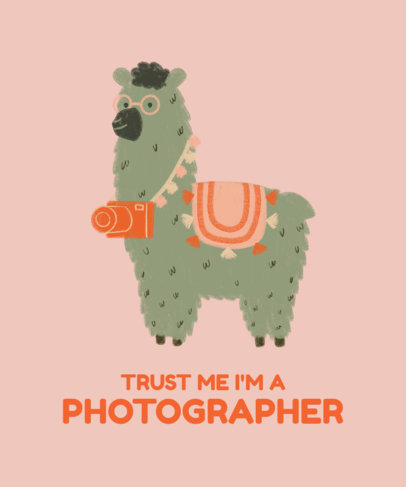 Illustrated T-Shirt Design Template Featuring a Cute Llama With a Camera 3719f