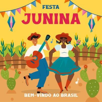 Illustrated Instagram Post Maker for the Festa de São João Holiday 3713a