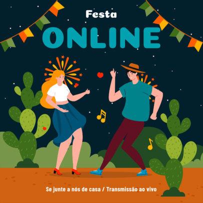 Instagram Post Generator for an Online Festa Junina Invitation 3713b