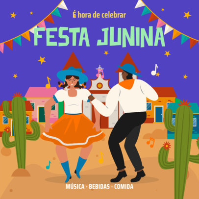 Festa Junina-Themed Instagram Post Creator Featuring Illustrated Dancing People 3713g