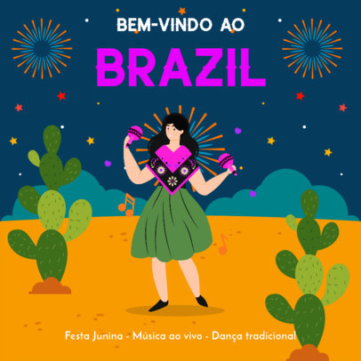 Instagram Post Template with Illustrated Festa de São João Fireworks 3713i