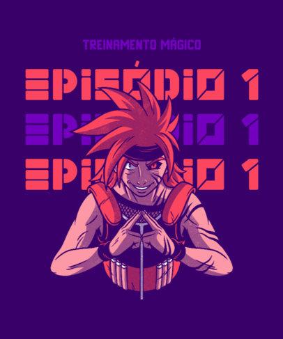 Anime T-Shirt Design Template Featuring a Villain Character 4380e