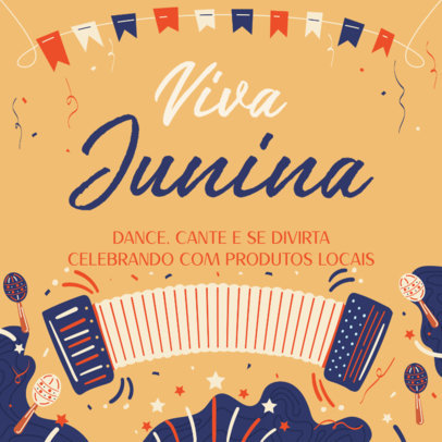 Instagram Post Generator for a Festa Junina Event with an Accordion Illustration 3714d