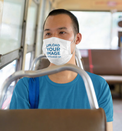 Mockup of a Man Wearing a Face Mask While Using Public Transportation 42830-r-el2