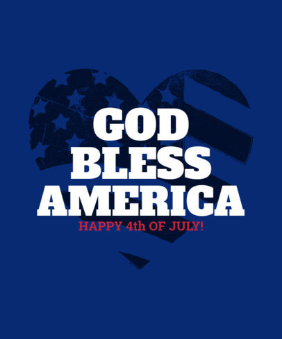 Patriotic T-Shirt Design Template with USA-Themed Graphics for the 4th of July 3751