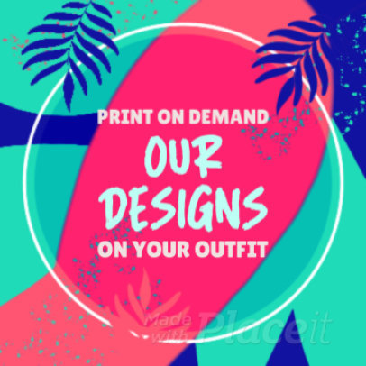 Instagram Post Video Maker for a Print on Demand Ad with Animated Palm Leaves 939b 3508
