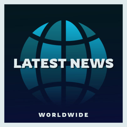Podcast Cover Template for a World News Show Featuring Abstract Icons 4398e