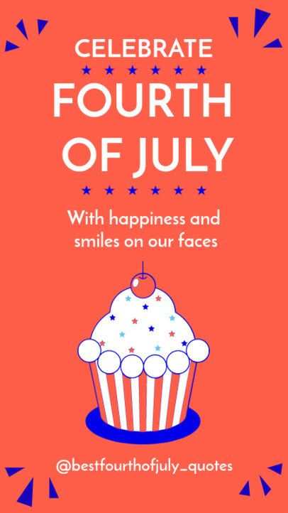 Instagram Story Generator for a 4th of July Celebration Featuring a Cupcake Illustration 3752h