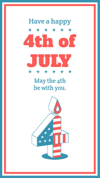 4th of July Themed Instagram Story Maker Featuring a Quote and a Candle Clipart 3752c