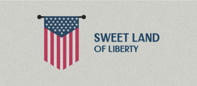 4th of July-Themed Facebook Cover Template with an American Flag Graphic 3755e