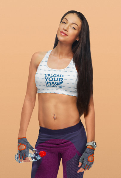 Sports Bra Mockup of a Fit Woman with a Navel piercing 38547-r-el2