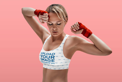 Mockup of an Athletic Fighter Wearing a Sports Bra 38563-r-el2