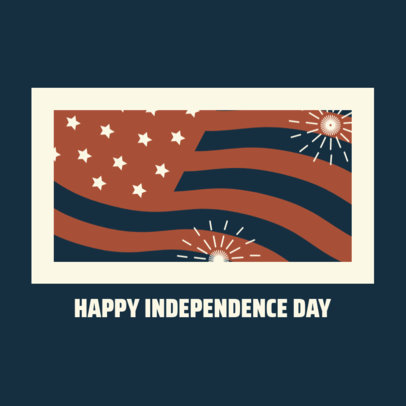 Instagram Post Generator Featuring a Waving American Flag for a Happy Independence Day 3753j