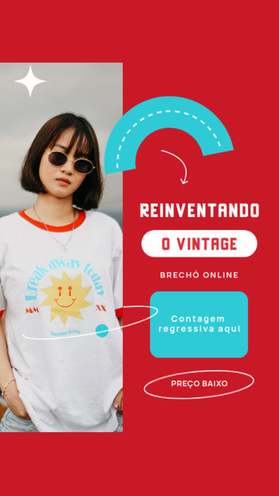 Instagram Story Creator for Vintage Clothing Stores with Portuguese Text 4037d-el1