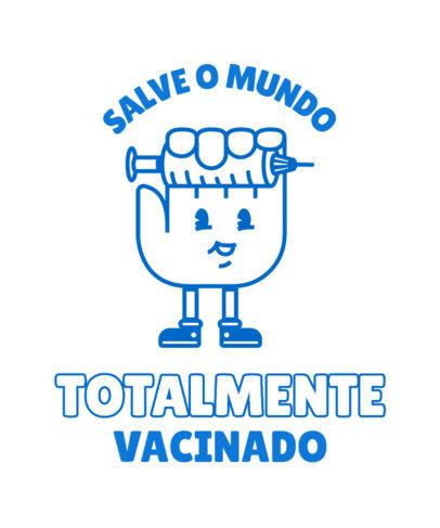T-Shirt Design Template Featuring a COVID Vaccine Cartoon 3740c