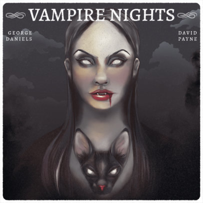 Podcast Cover Design Template with a Vampire Illustration 3749a