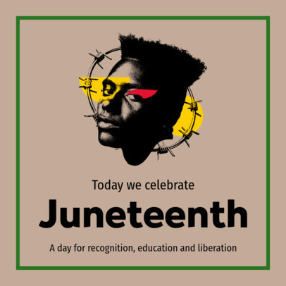 Instagram Post Template Featuring a Juneteenth Theme and Collage-Style Graphics 3773a