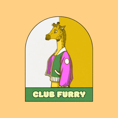 Logo Template Featuring an Anthropomorphic Giraffe  4392e