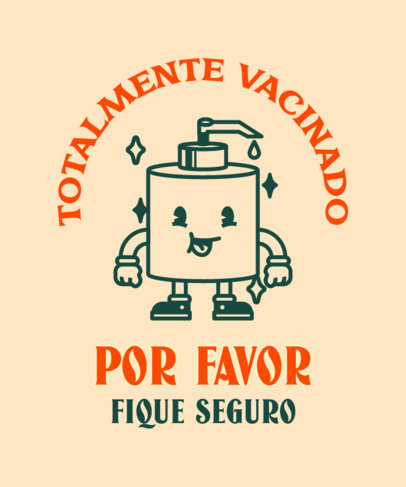 COVID-Themed T-Shirt Design Maker with a Hand Sanitizer Cartoon 3740b