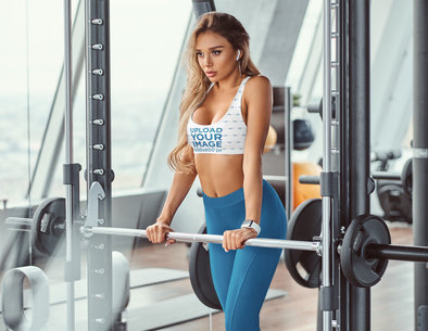Sports Bra Mockup of a Woman Resting Amidst a Workout Session at the Gym 38649-r-el2
