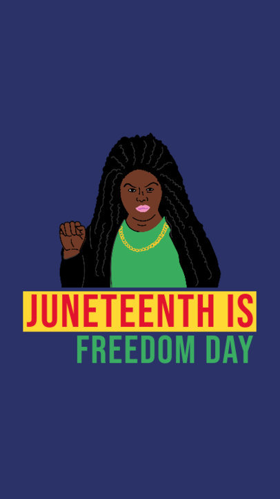 Juneteenth-Themed  Instagram Story Generator Featuring a Woman Illustration 3773a