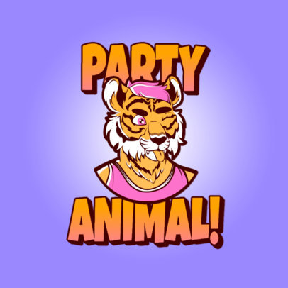 Illustrated Logo Maker for Gamers Featuring a Tiger Fursona 4394c