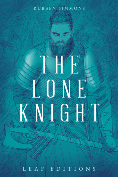 Fiction Book Cover Design Template with an Epic Knight Portrait 3747a