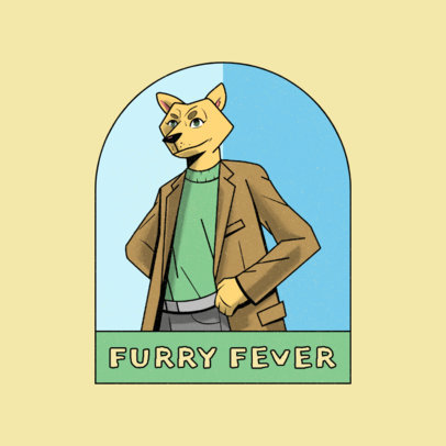 Logo Maker for Gaming Streamer with a Male Furry Character 4392h