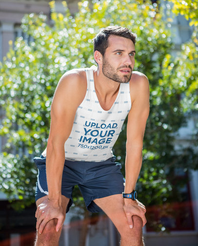 Sublimated Tank Top Mockup of a Man Resting During His Workout 41562-r-el2