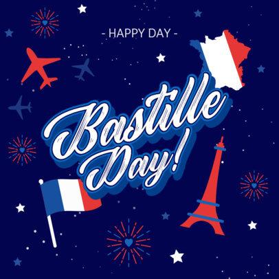Instagram Post Design Template to Celebrate Bastille Day 3771