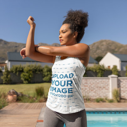 Tank Top Mockup Featuring a Woman Stretching Her Elbow 44765-r-el2