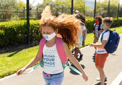Face Mask and Tank Top Mockup Featuring a Girl with Long Hair at School 45991-r-el2
