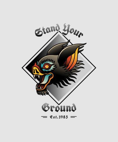 Tattoo-Styled T-Shirt Design Maker with a Bat Illustration 4049d-el1