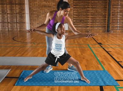 Tank Top Mockup of a Girl Learning Yoga on a Mat 41597-r-el2