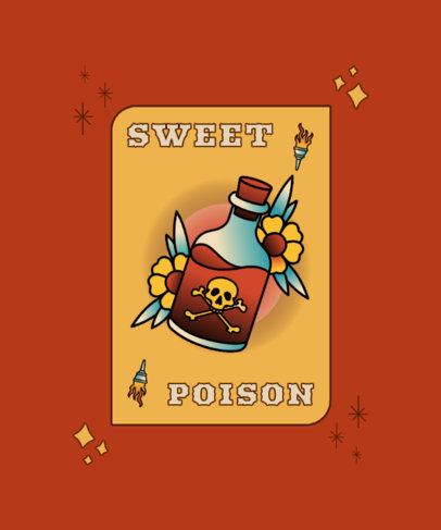 T-Shirt Design Template with a Poison Bottle Tattoo Graphic 4051a-el1