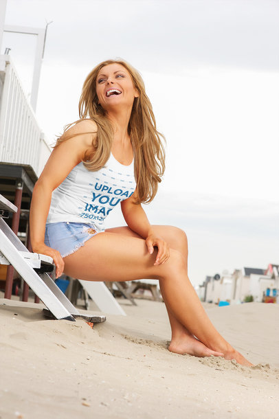 Tank Top Mockup Featuring a Smiling Woman Sitting by the Beach 40787-r-el2