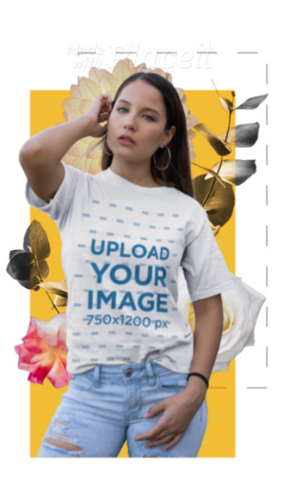 T-Shirt Video of a Woman Featuring Animated Floral Graphics 3308v