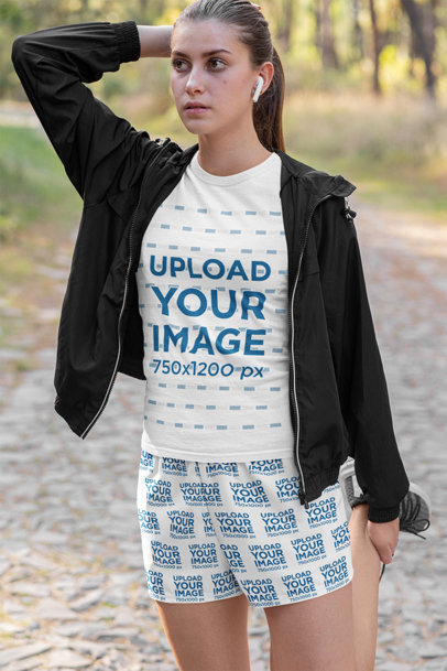 T-Shirt and Shorts Mockup of a Female Runner Warming-Up 33078a
