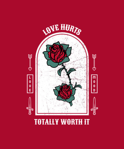 T-Shirt Design Template with Roses in the Style of Tattoos 4053c-el1